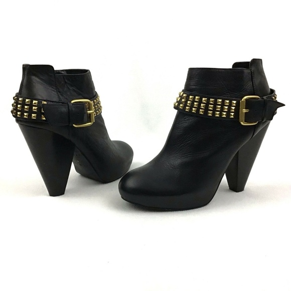 9e9c78a1548 Dolce Vita Black Leather Gold Studded Booties 10